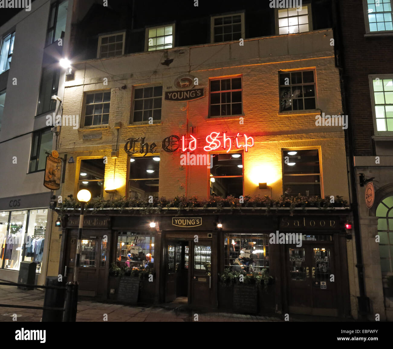 The Old Ship Pub, Youngs, Richmond, London at Night Stock Photo