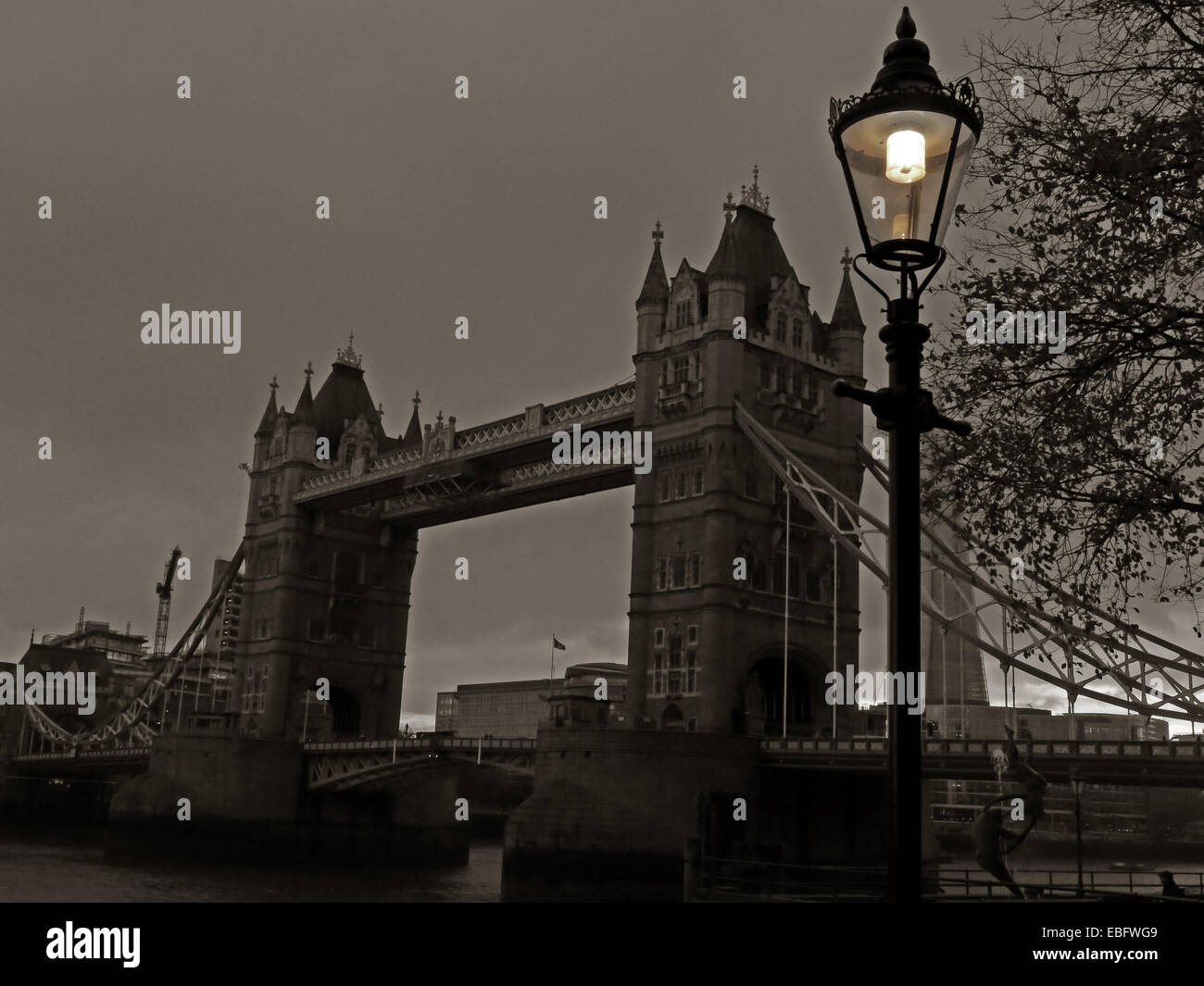 Tower Bridge, River Thames, London at Dusk, England, UK Stock Photo