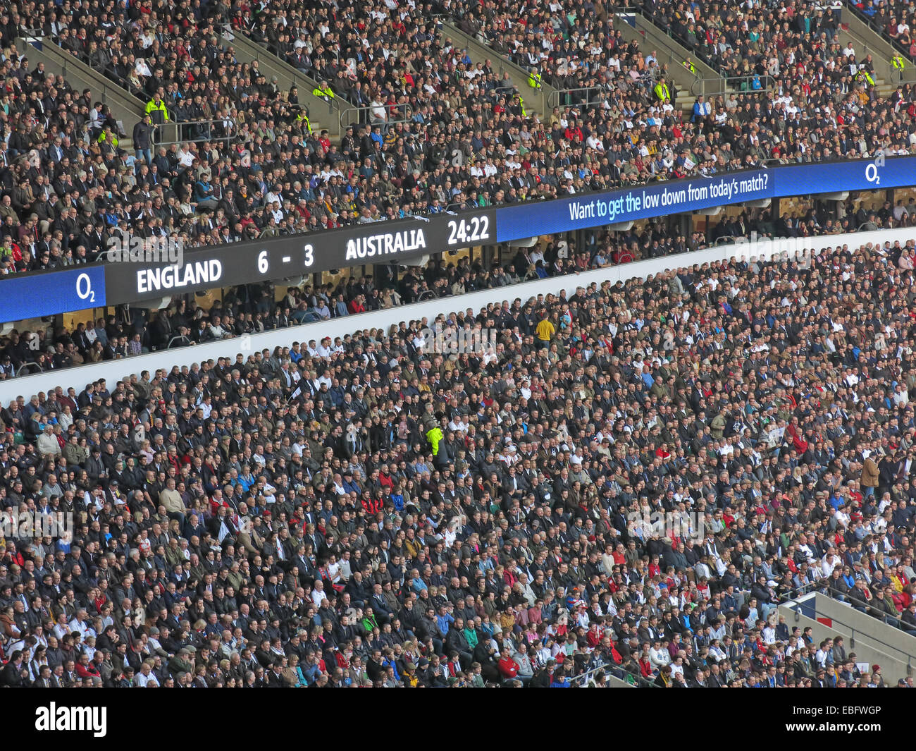 Crowds in stand English Rugby at Twickenham, London, England, UK - Stock Image