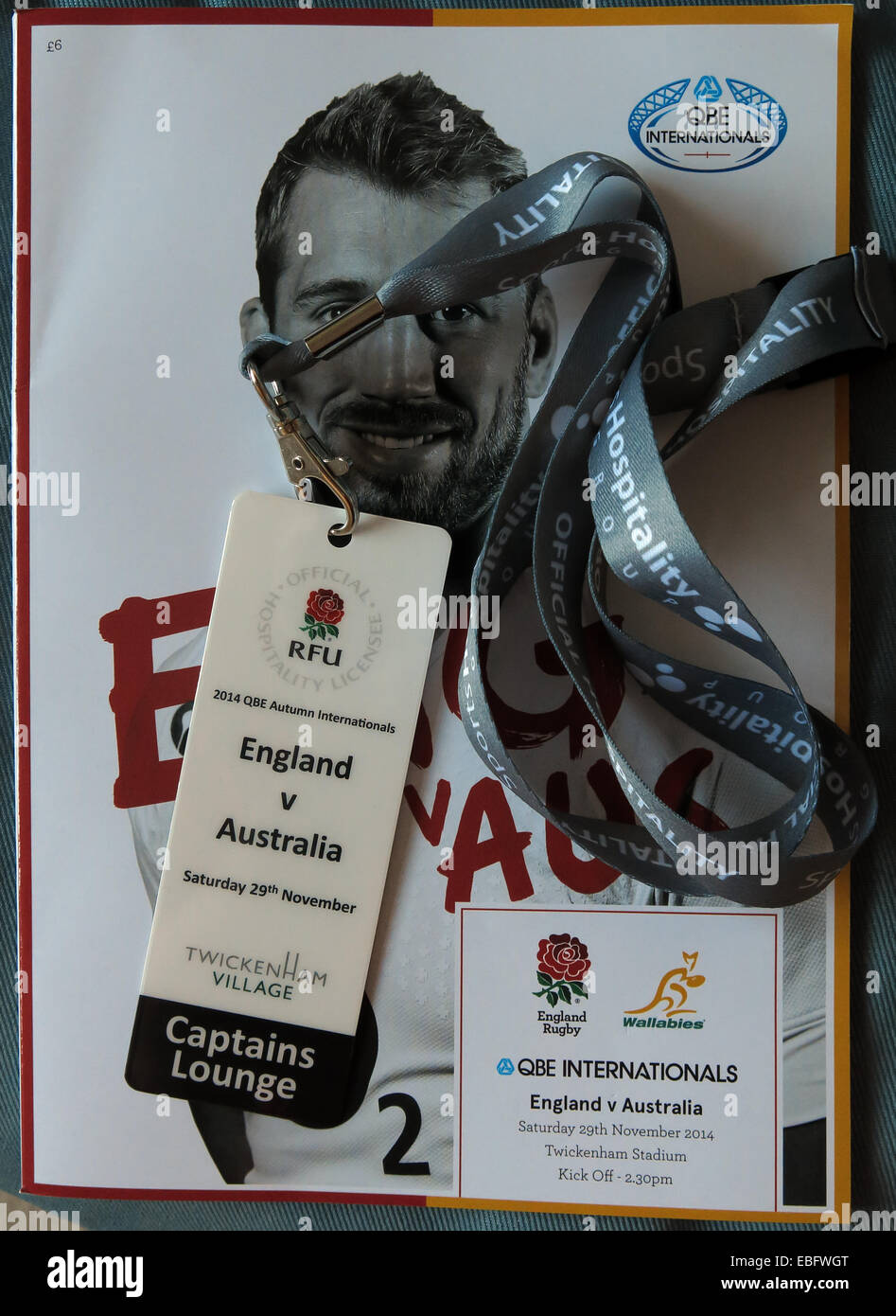 Hospitality pass & programme for English Rugby at Twickenham, London, England, UK - Stock Image