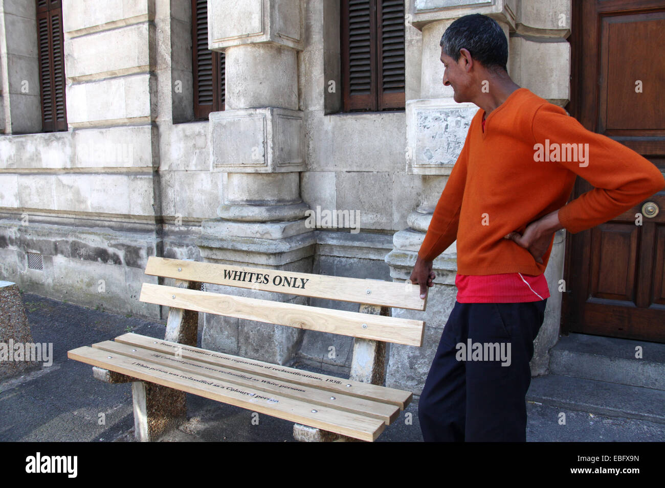 Whites Only Apartheid-era bench in Cape Town - Stock Image