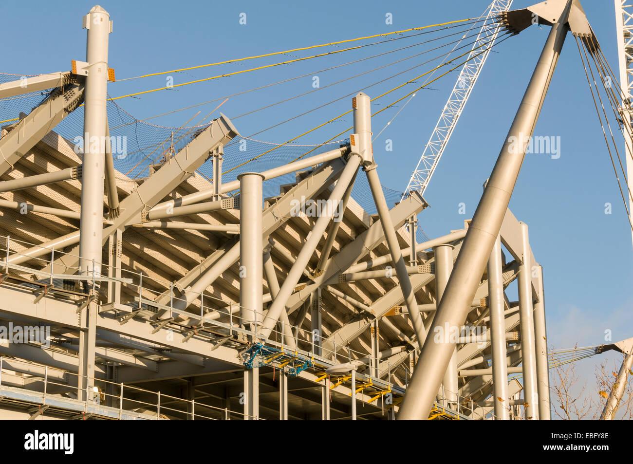 Steelwork on the City of Manchester Stadium (Etihad Stadium) expansion works, Clayton, Manchester, England, UK. - Stock Image