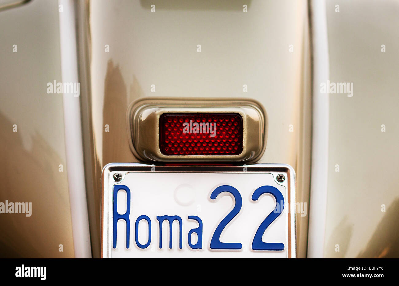 License plate on back of a 1958 Vespa - Stock Image