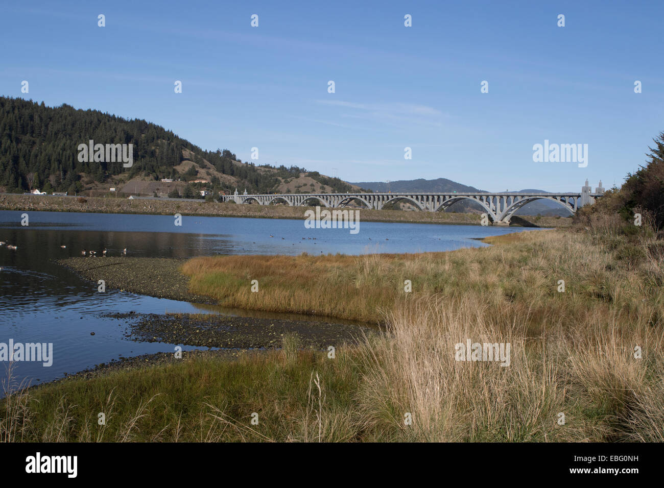 Isaac Lee Patterson Bridge over the Rogue River in Curry County, Oregon - Stock Image