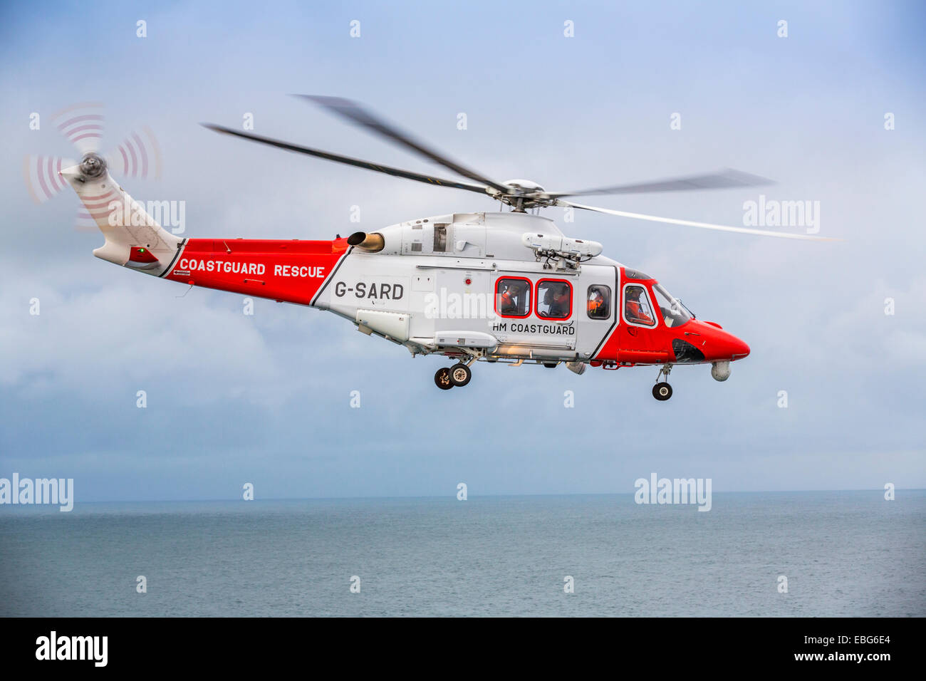 A view of an Augusta HM Coastguard Search and Rescue helicopter - Stock Image