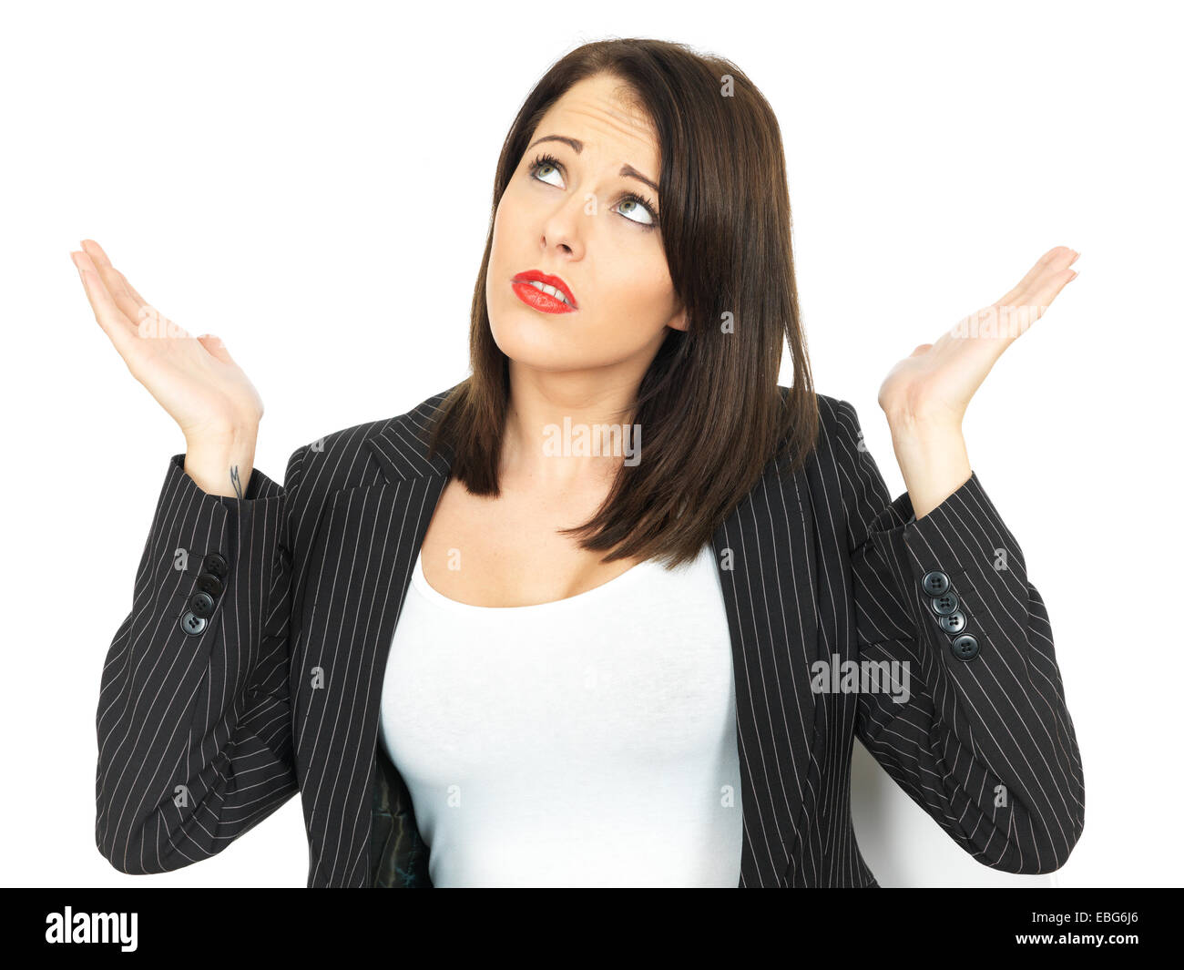 Angry Upset Young Business Woman - Stock Image