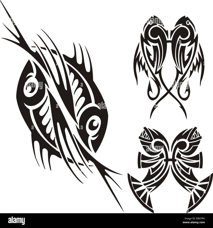 Zodiac Signs - fish. Vinyl-ready vector set. - Stock Image
