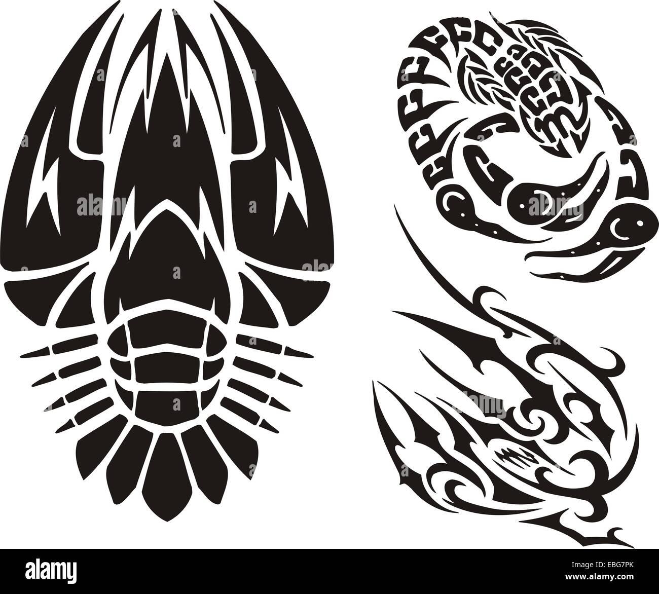 Zodiac Signs - cancer. Vinyl-ready vector set. - Stock Image