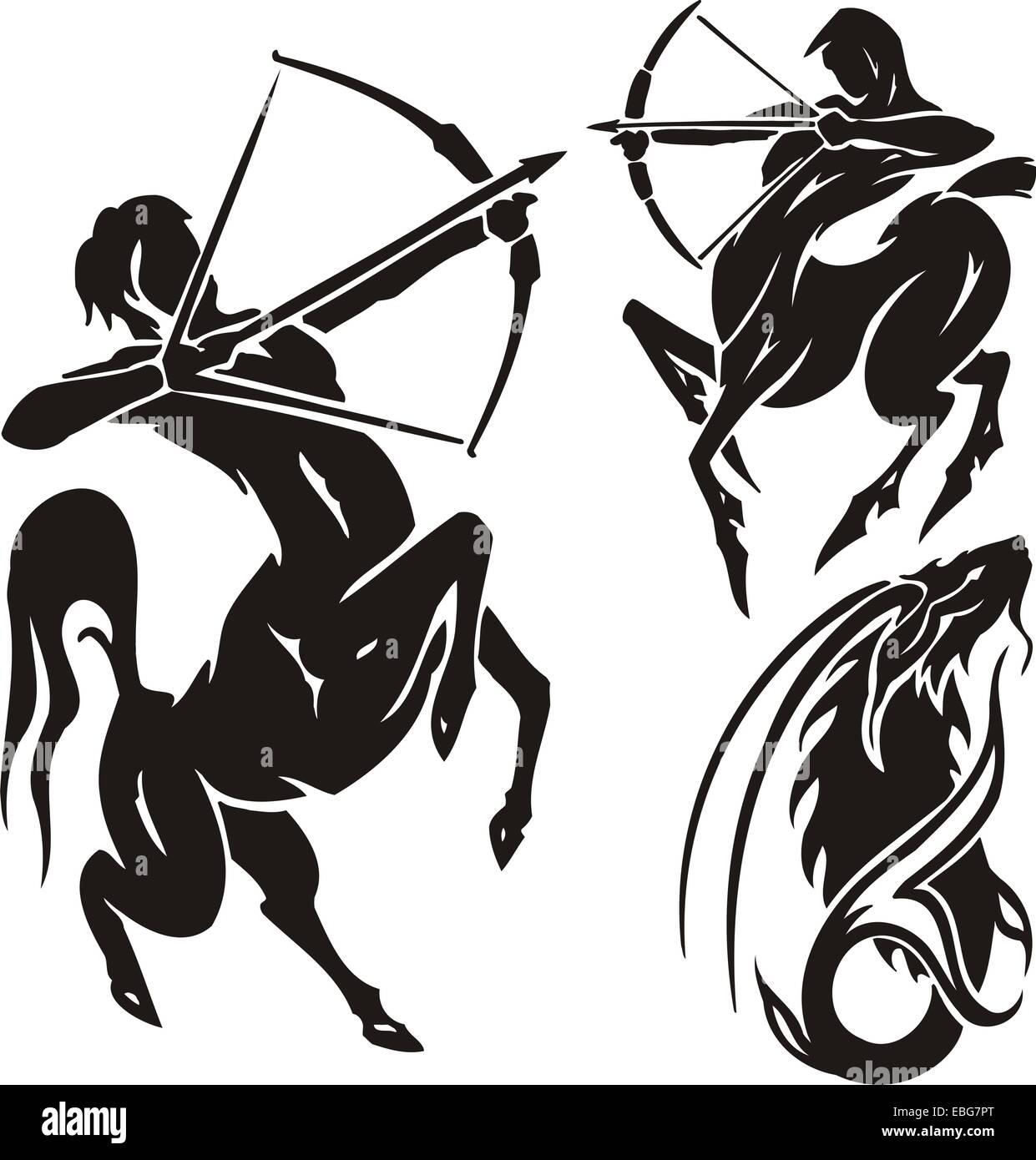 Zodiac Signs - sagittarius. Vector set. - Stock Image