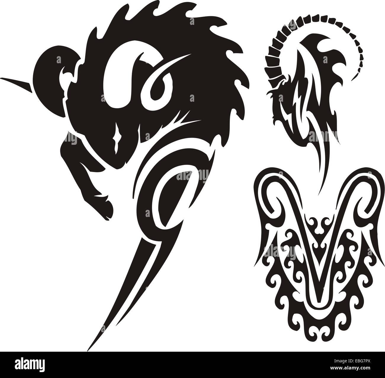 Zodiac Signs - aries. Vinyl-ready vector set. - Stock Image