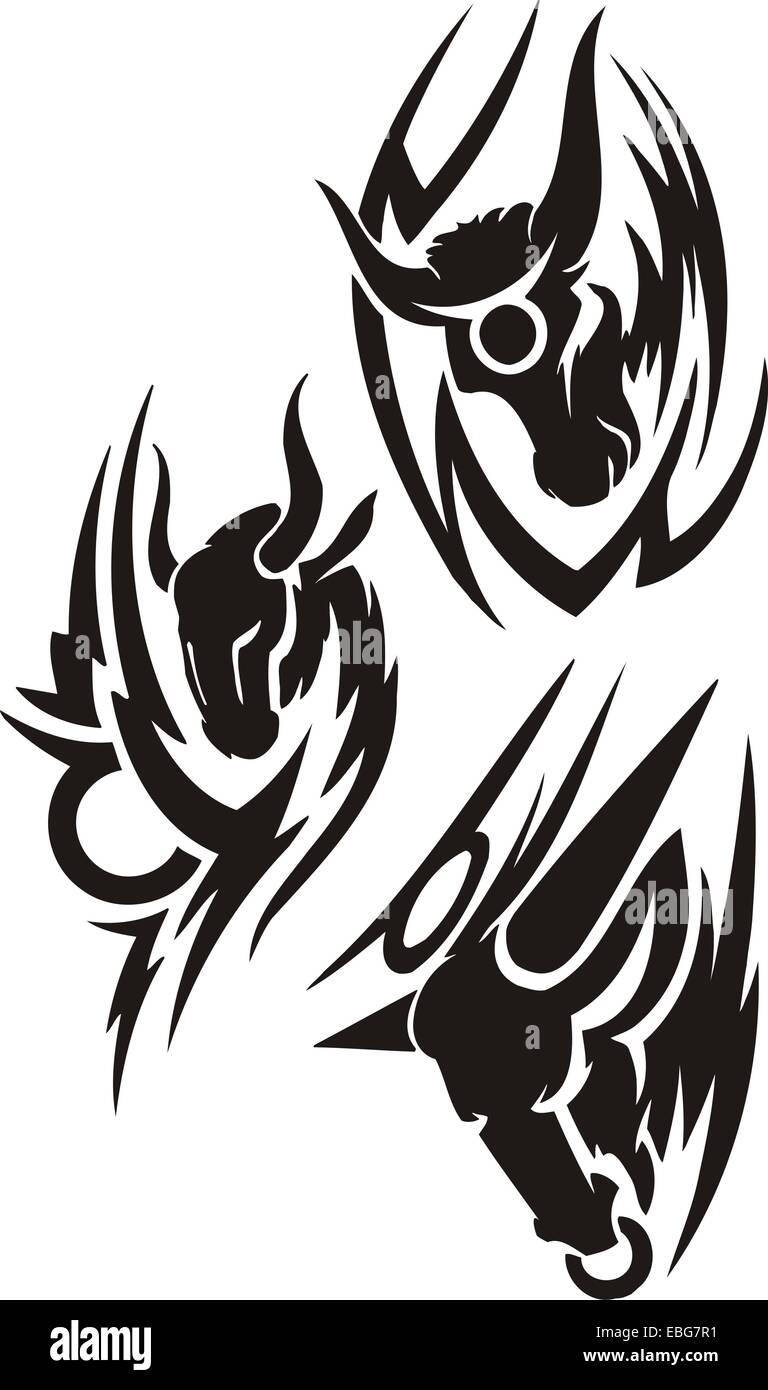Zodiac Signs - taurus. Vinyl-ready vector set. - Stock Image