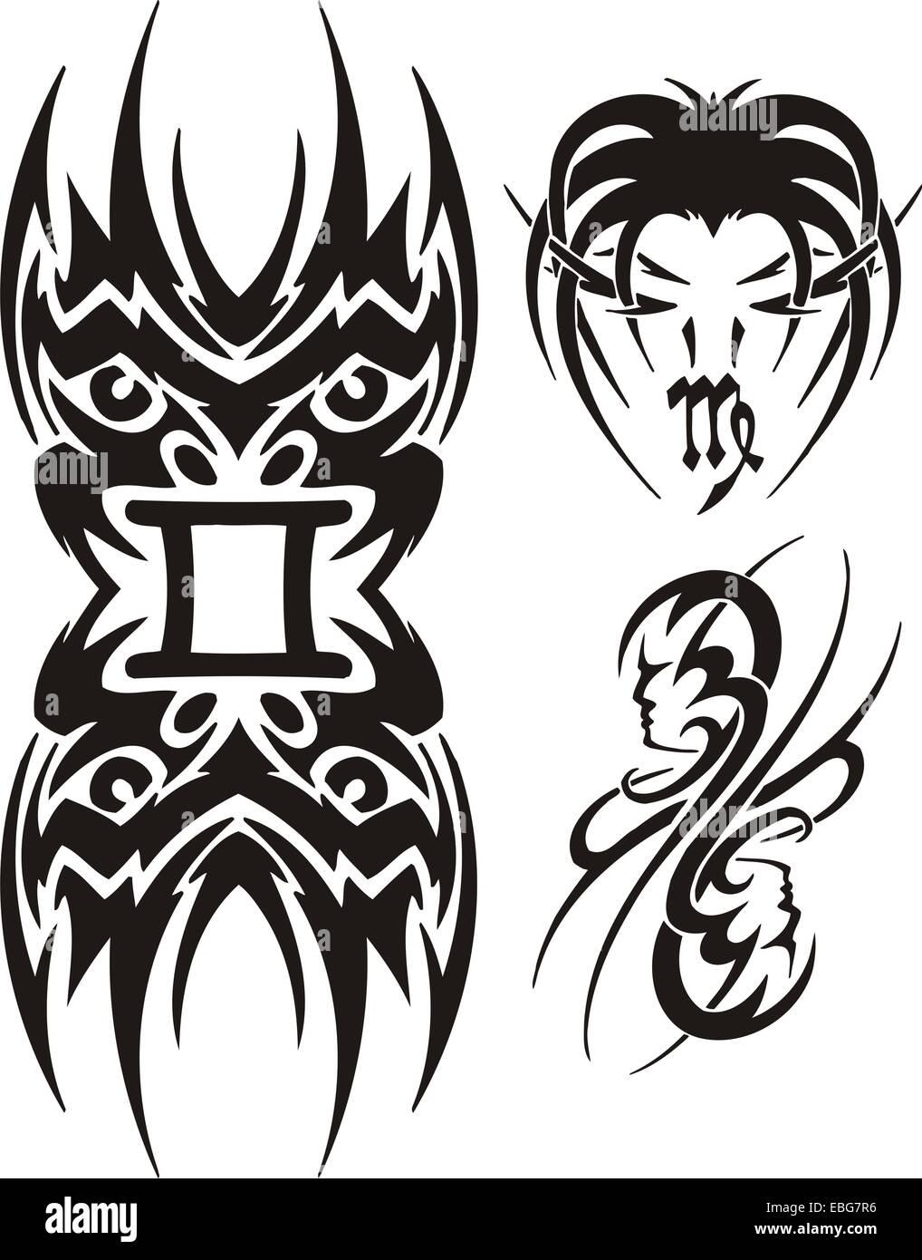 Zodiac Signs - maiden. Vinyl-ready vector set. - Stock Image