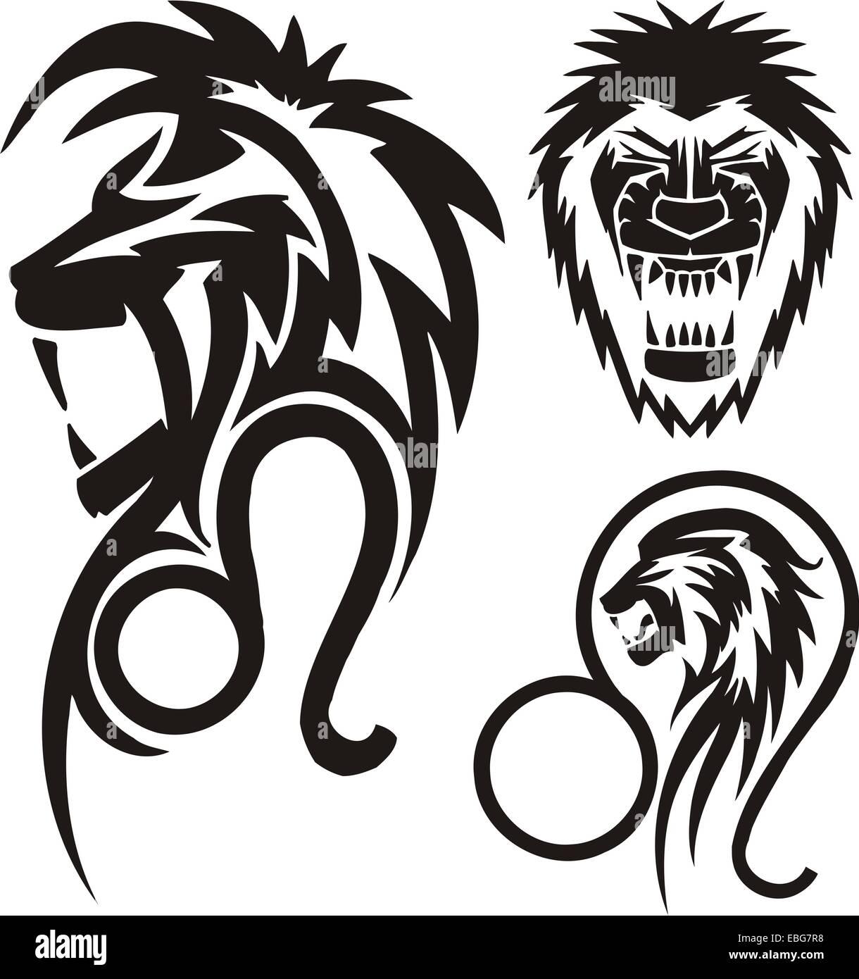 Zodiac Signs - lion. Vinyl-ready vector set. - Stock Image