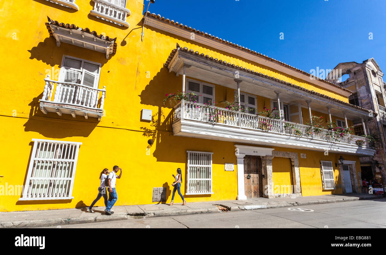 Spanish colonial architecture of Casa Pombo, Cartagena de Indias, Colombia. - Stock Image