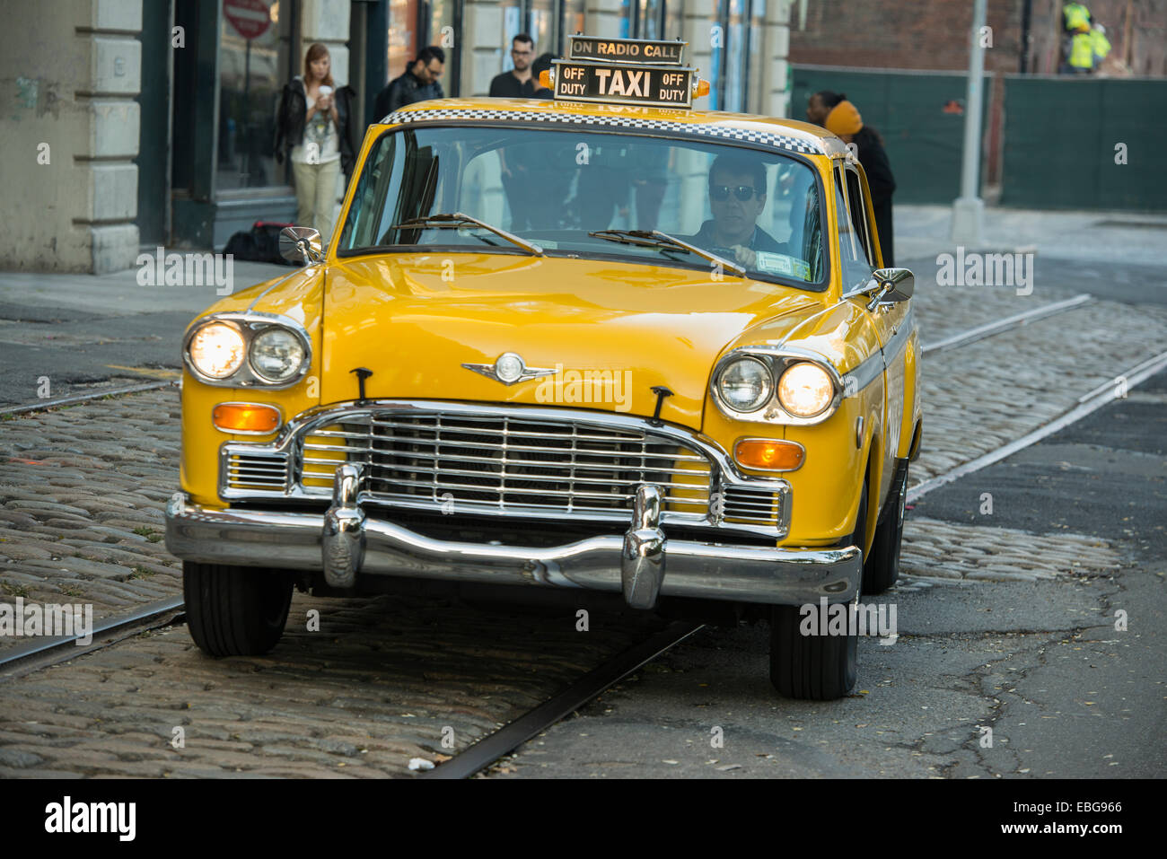 60's Checker Cab taxi, Brooklyn Heights, New York, United States - Stock Image