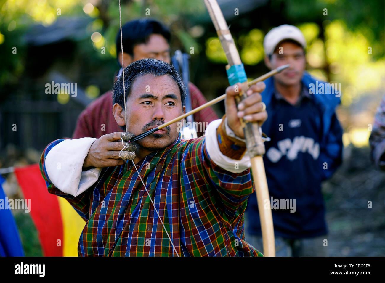 Archer, Jakar, Bumthang district, Bhutan - Stock Image
