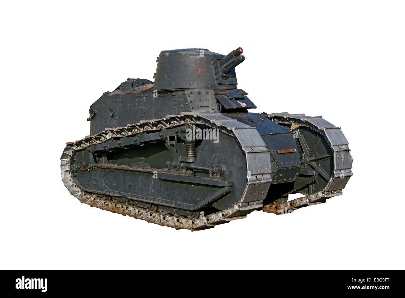 Second World War Light Tank Isolated on White background. - Stock Image