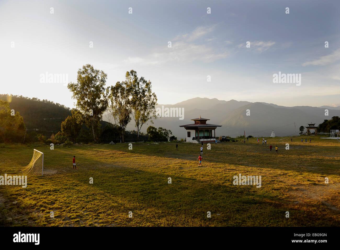 Football field of Mongar, Mongar, Mongar District, Bhutan Stock Photo