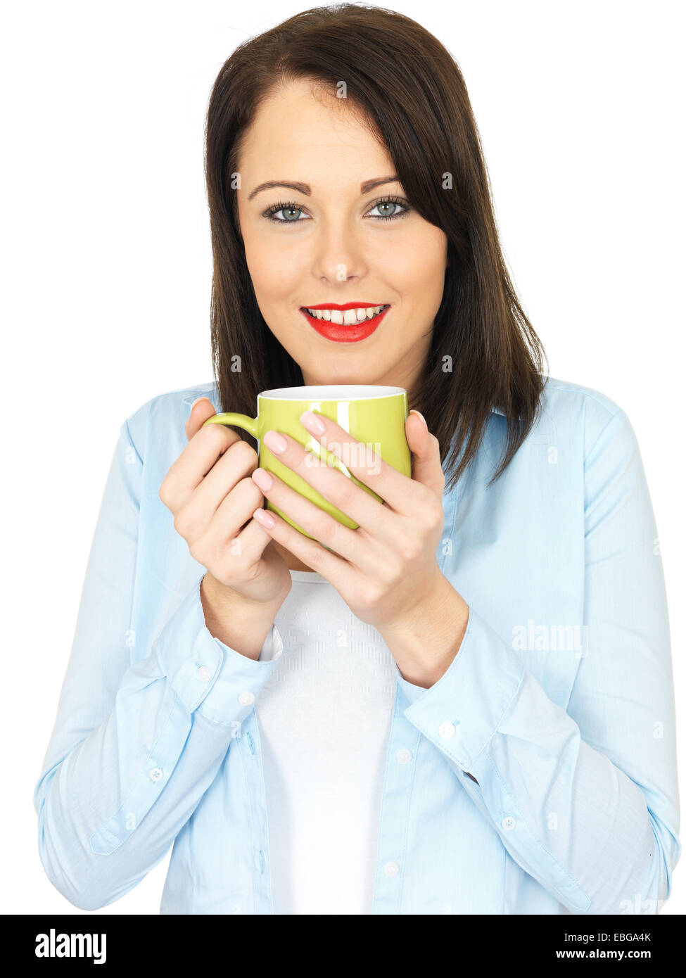 Attractive Twenty Something Young Woman Drinking Coffee - Stock Image