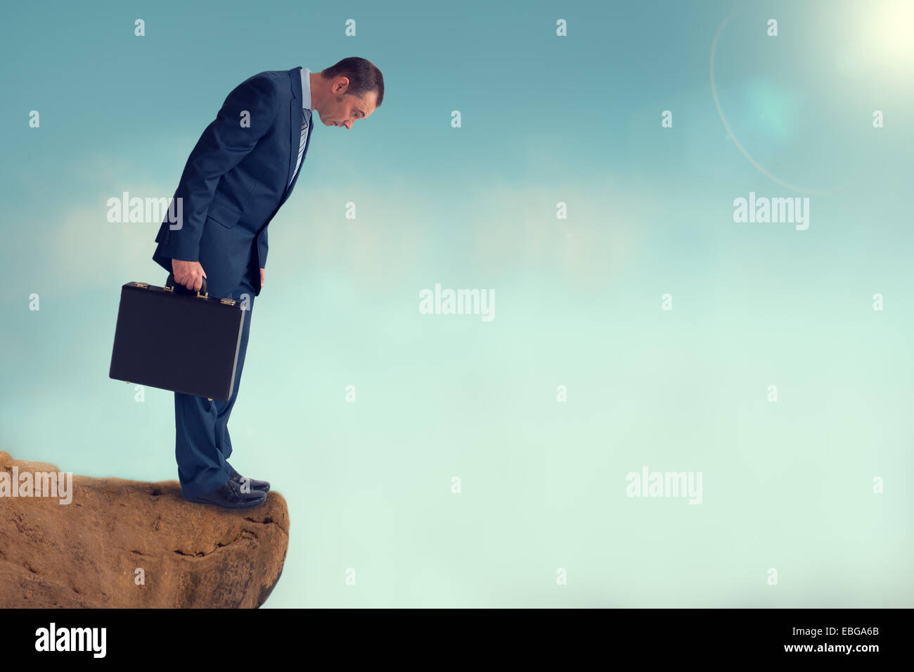 businessman gap worry fear obstacle - Stock Image