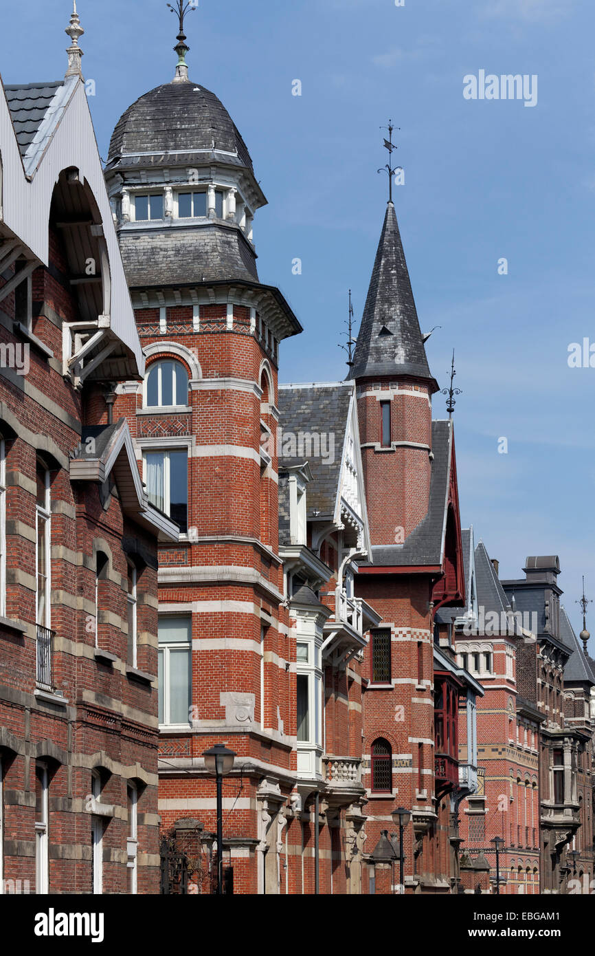 Houses built in different architectural styles, Zurenborg, Antwerpen, Flemish Region, Belgium - Stock Image