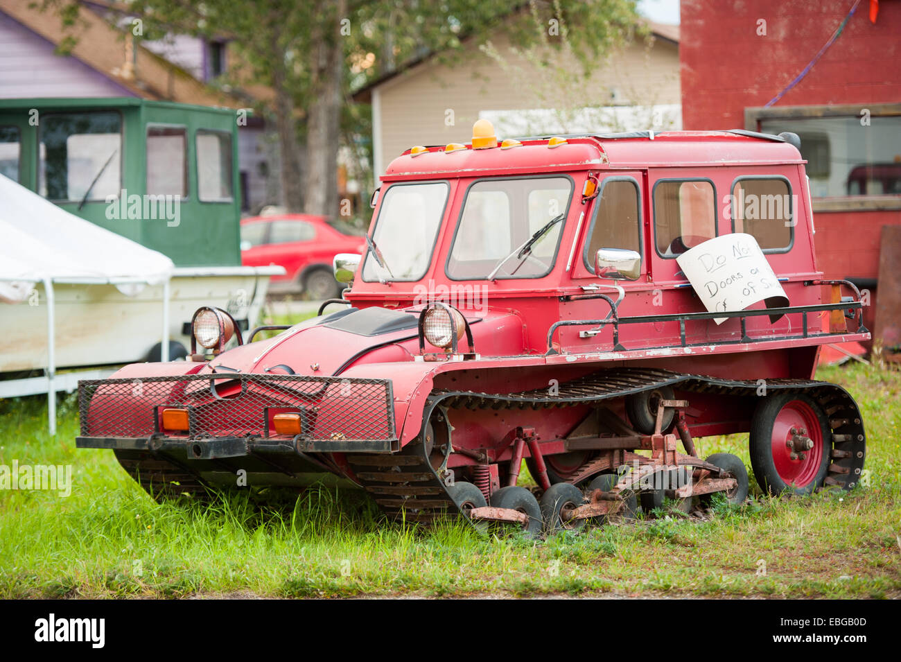 Red Sno-Cat - Stock Image