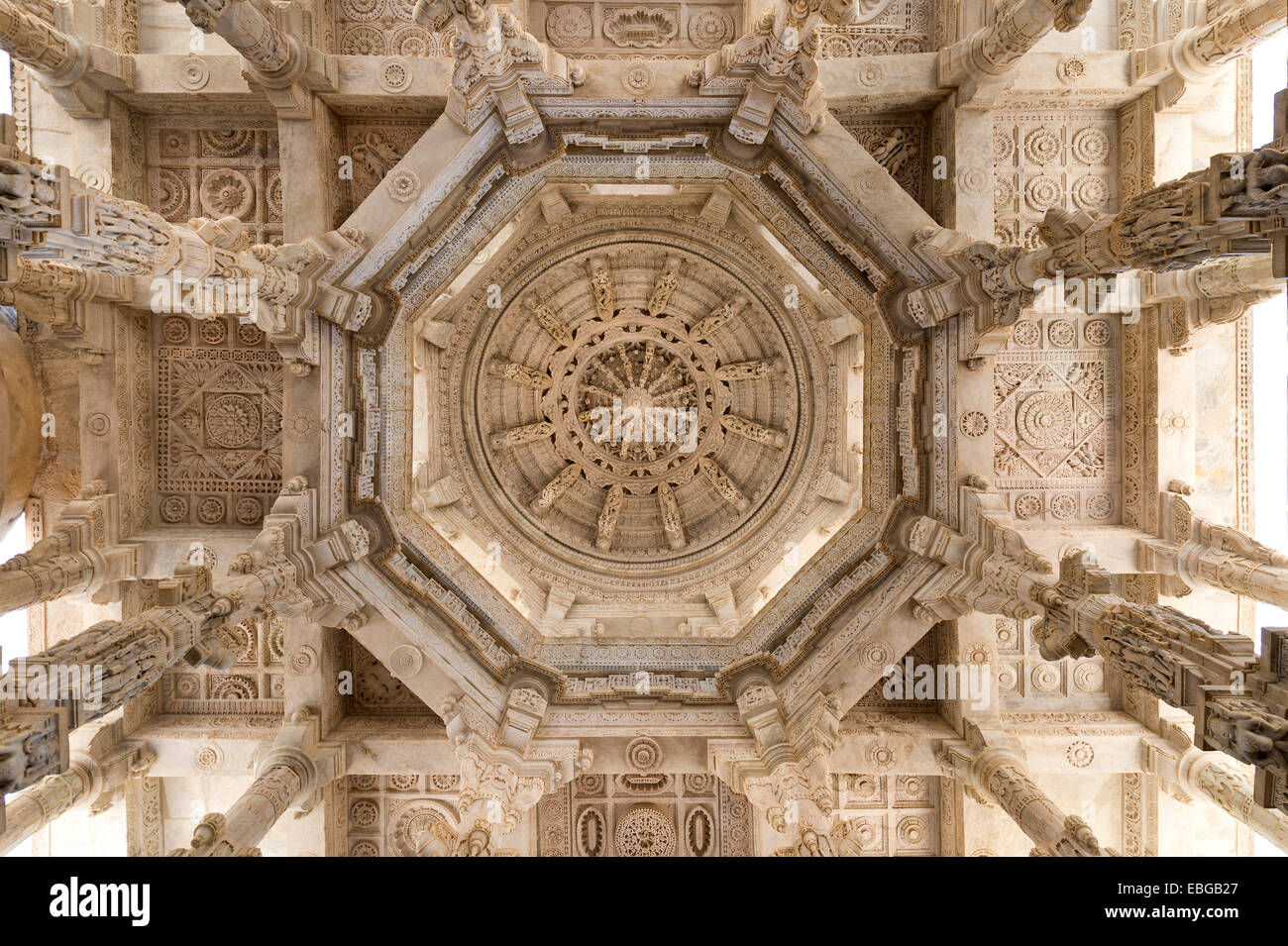 Interior hall with ornate pillars and ceilings, marble temple, Adinatha Temple, temple of the Jain religion, Ranakpur, Stock Photo