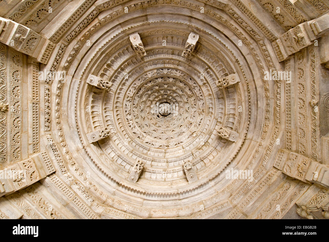 Ornate ceilings in the marble temple, Adinatha Temple, temple of the Jain religion, Ranakpur, Rajasthan, India Stock Photo