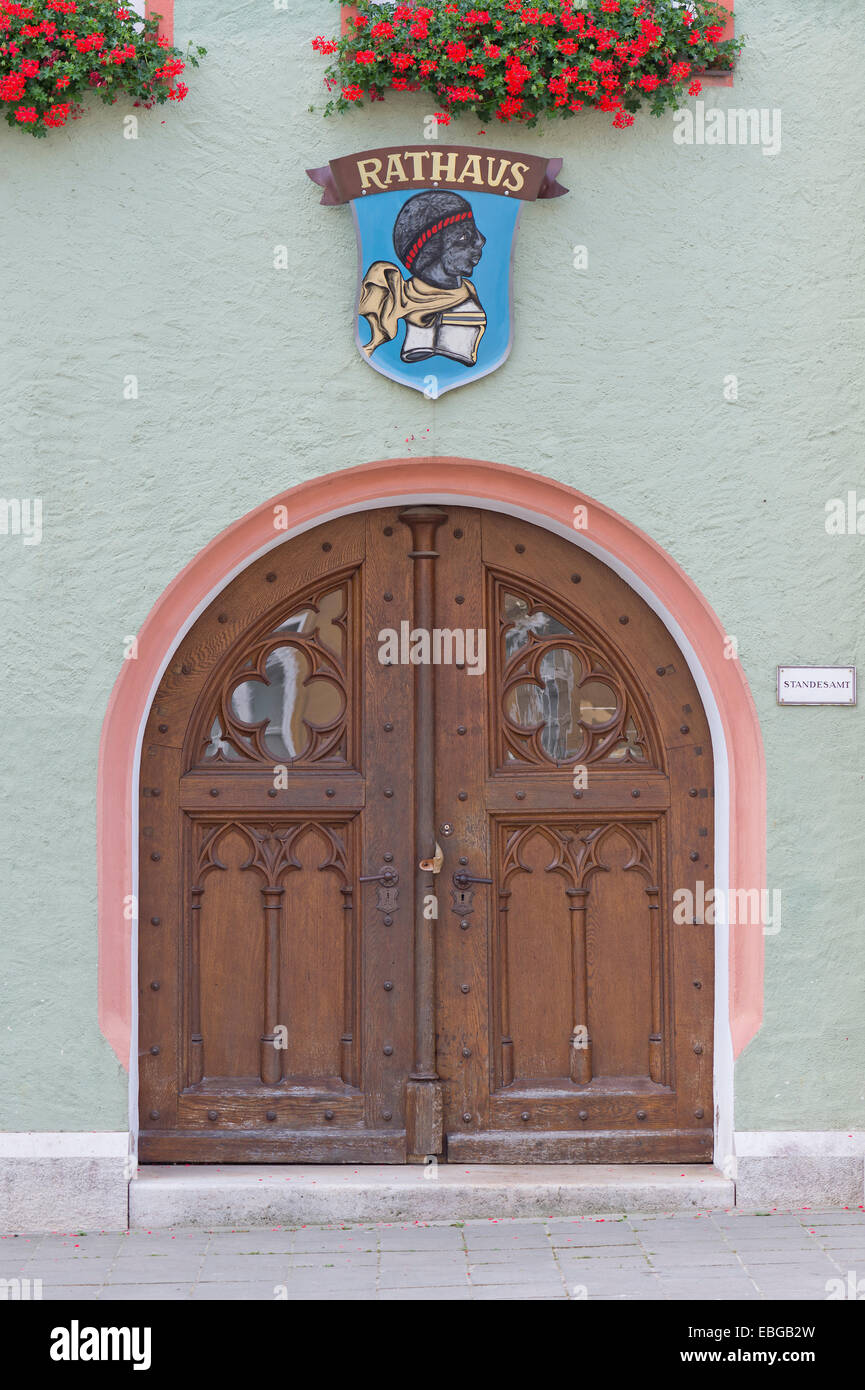 Entrance to City Hall of Pappenheim with the city coat of arms, Altmühltal, Pappenheim, Middle Franconia, Bavaria, - Stock Image