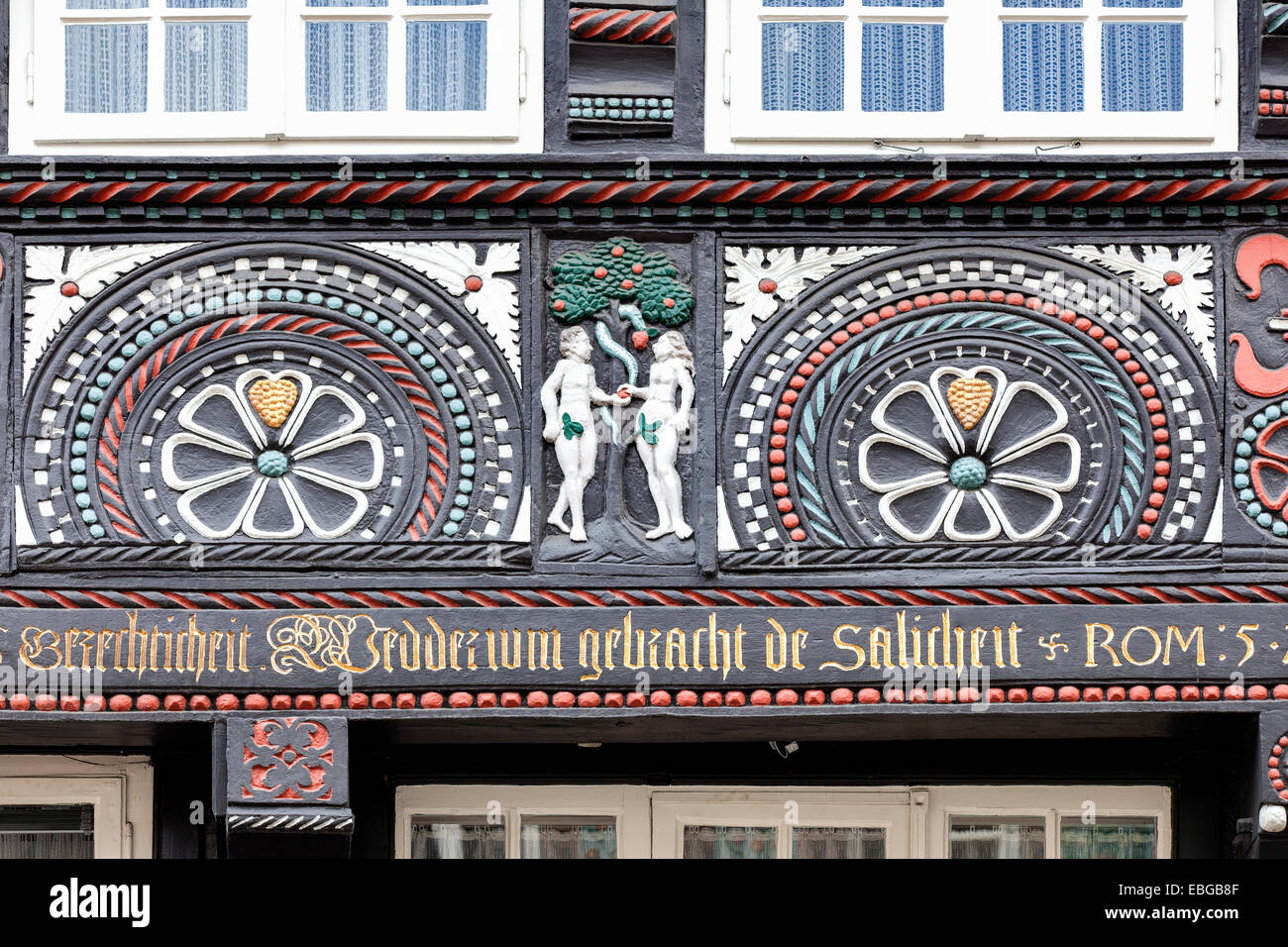 Walhalla House, half-timbered building from 1690 with biblical ornaments, Adam and Eve, historic centre, Osnabrück - Stock Image