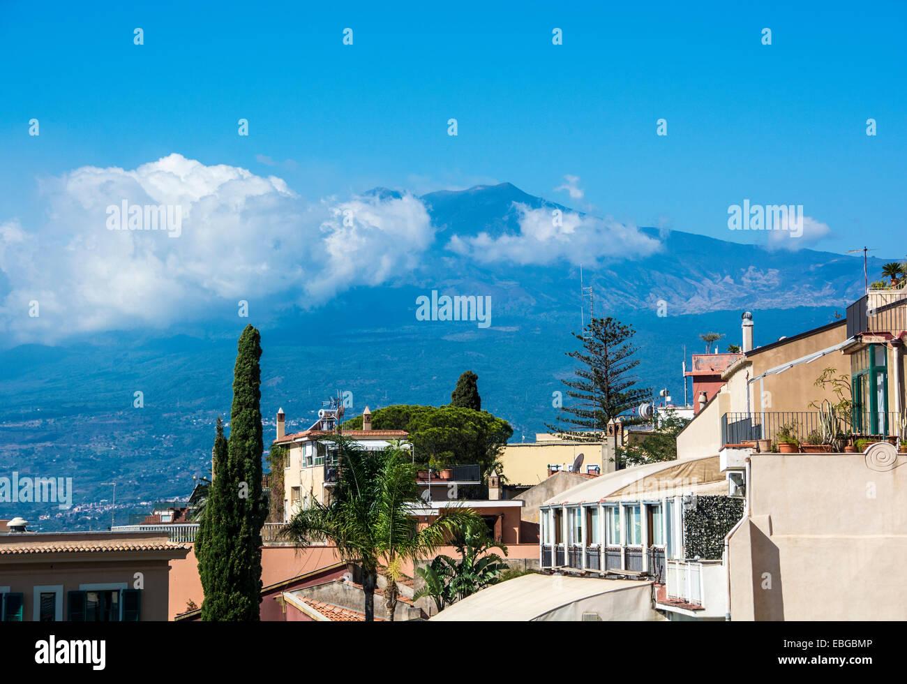 Mount Etna from  Taormina, Sicily - Stock Image