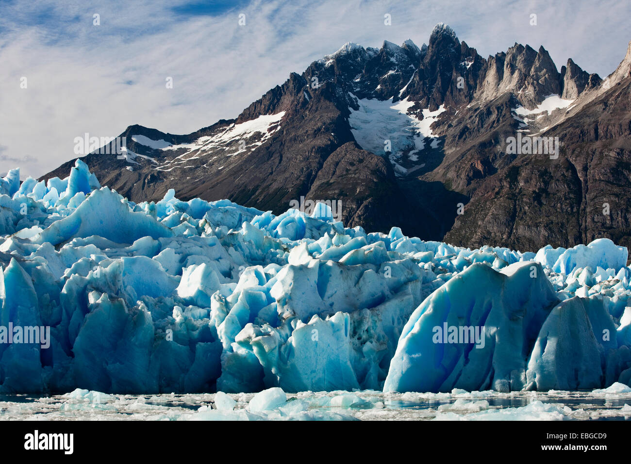 Grey Glacier, icefall, glacier terminus, Torres del Paine National Park, Chile - Stock Image