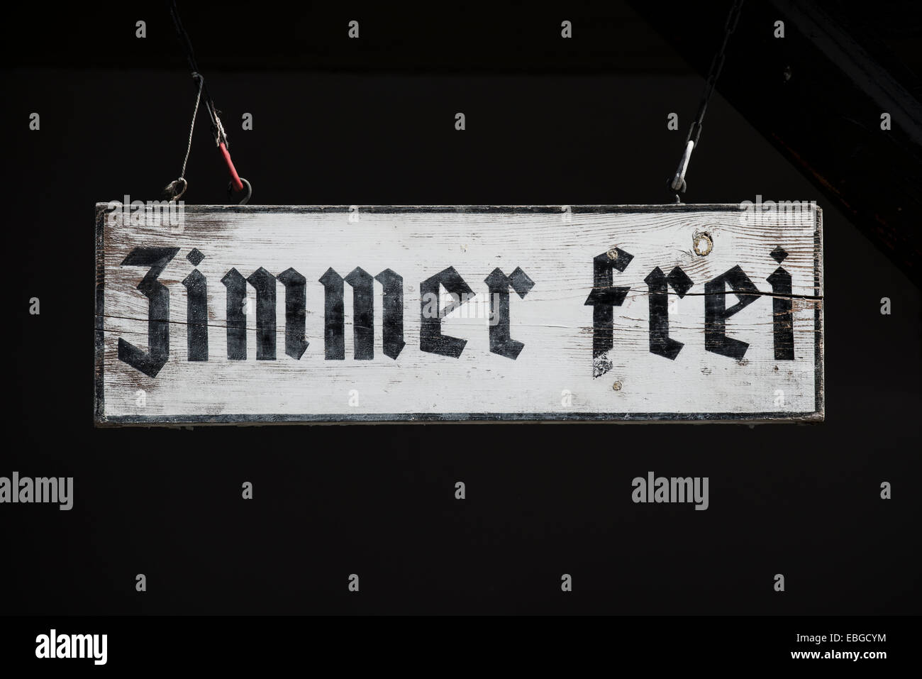 Sign 'Zimmer frei', German for 'vacancy' - Stock Image