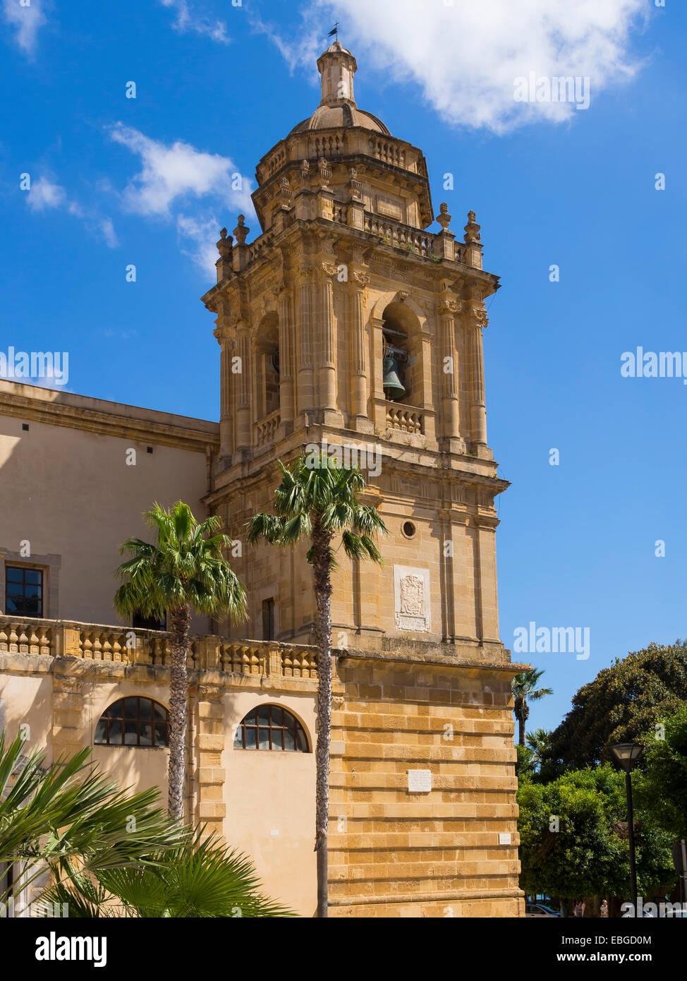 Cathedral del Santissimo Salvatore or San Vito Church, Plaza de la Repubblica, Mazara del Vallo, Province of Trapani, - Stock Image