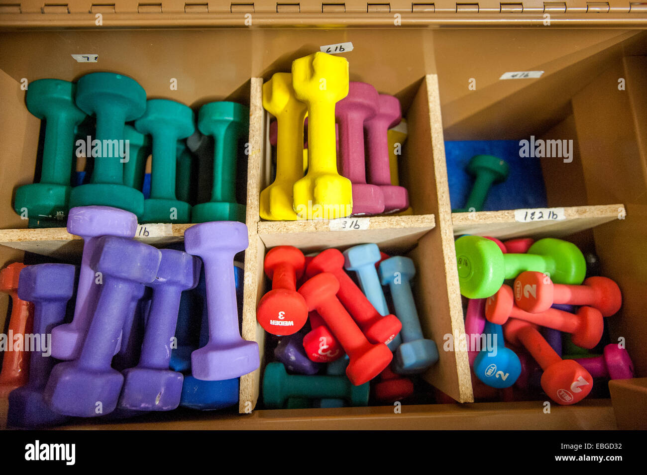 Bins of weights for a for aerobics in Wasilla AK - Stock Image