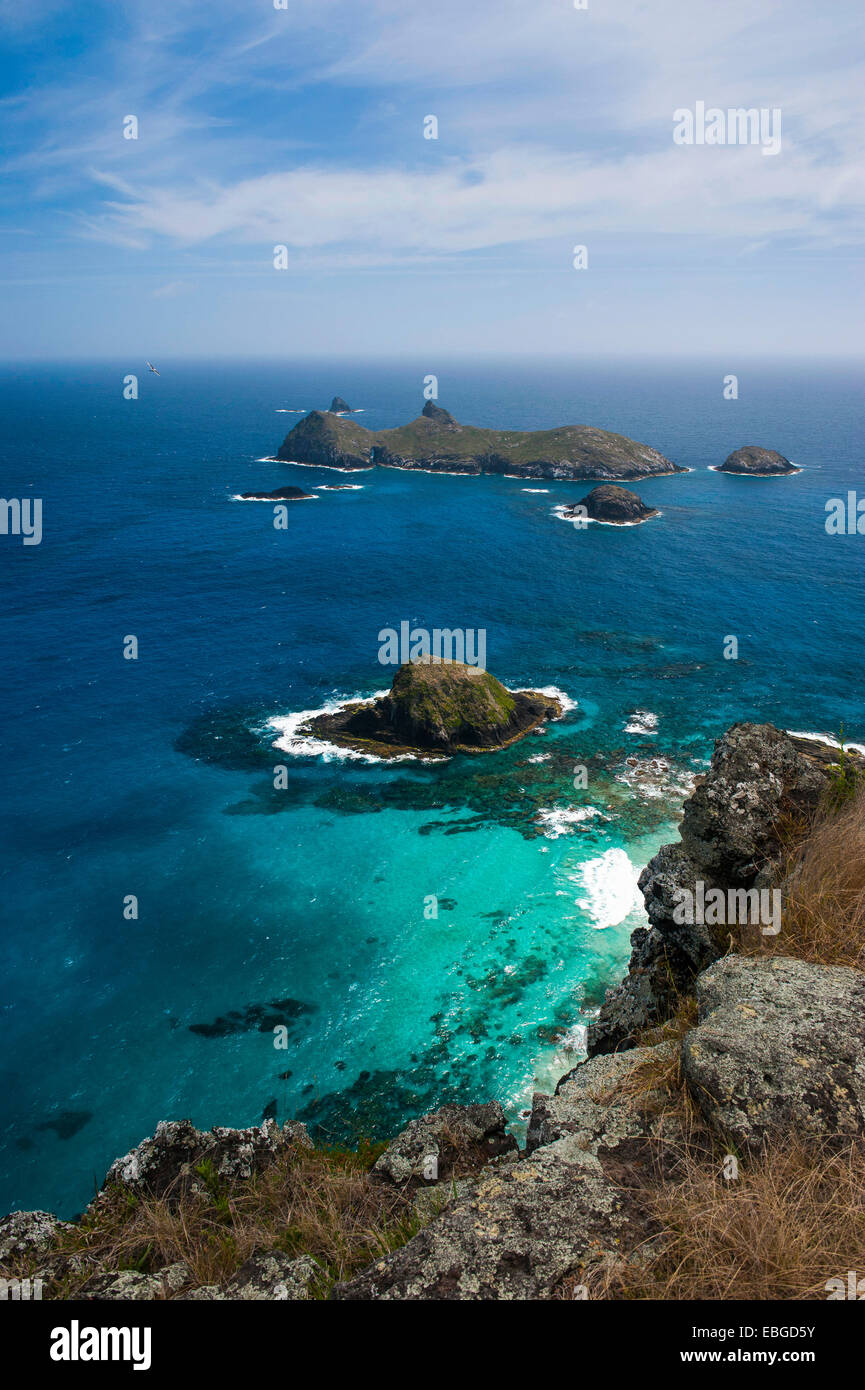 View from Malabar hill onto some islets off Lord Howe Island, New South Wales, Australia Stock Photo