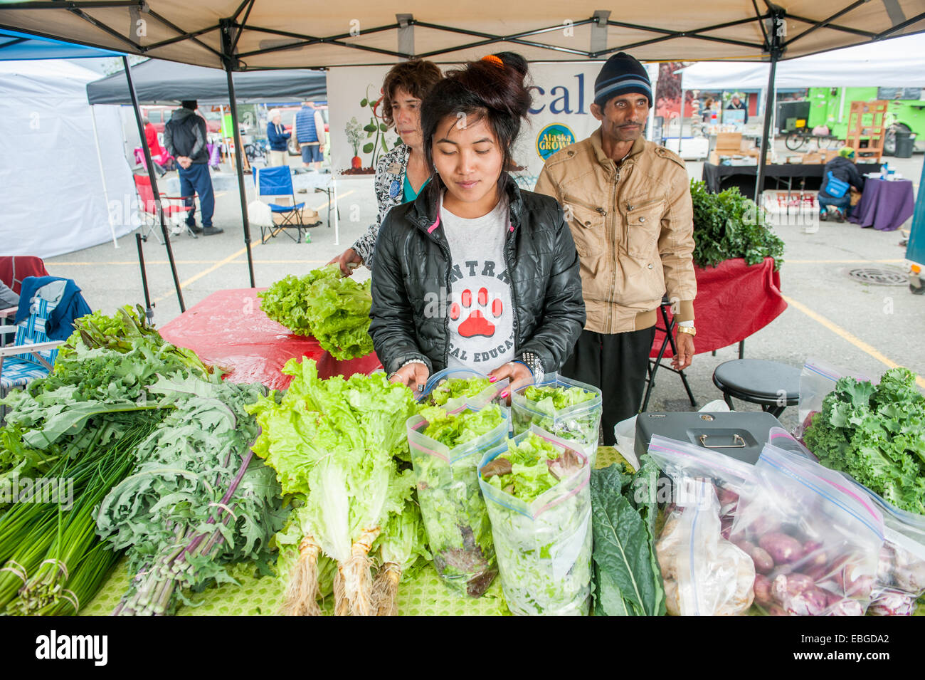 Woman selling vegetables at a farmers market - Stock Image