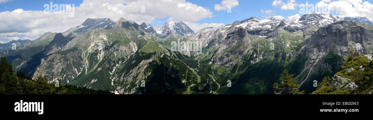 Panorama from le Col de Napremont over la Grande Casse, in the French Alps Stock Photo