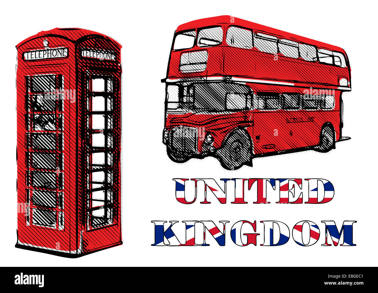 double decker and red telephone box illustration - Stock Image
