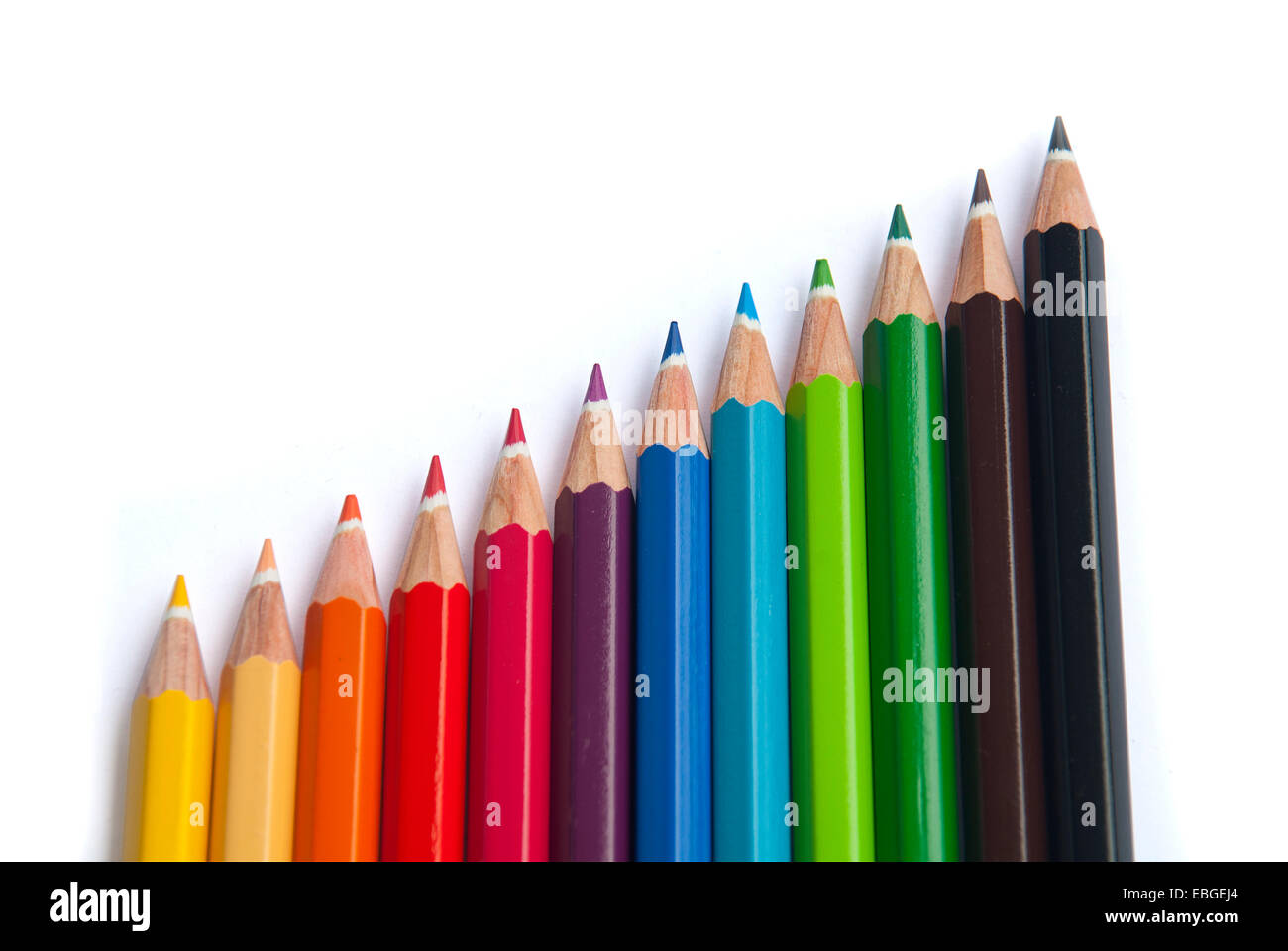 Colored pencils on a white background - Stock Image