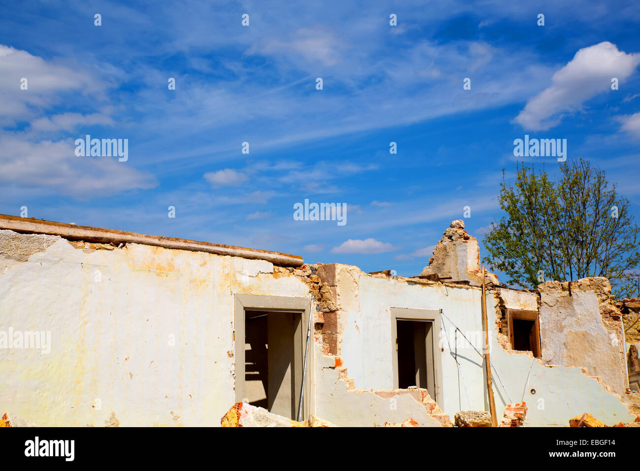 A Ruin of a demolished house. - Stock Image