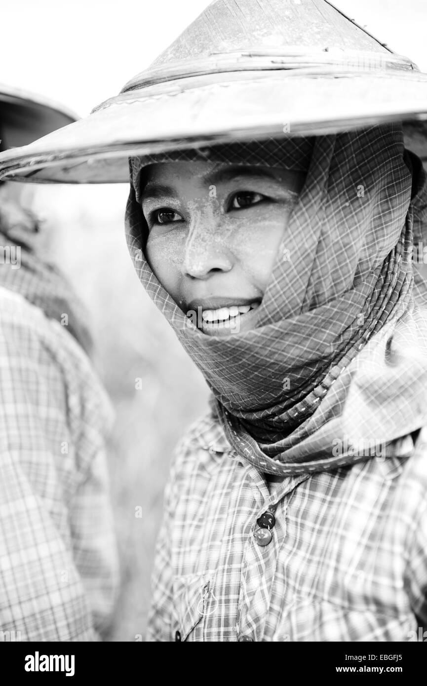Face of thanaka covered female farmer in the rice field - Stock Image