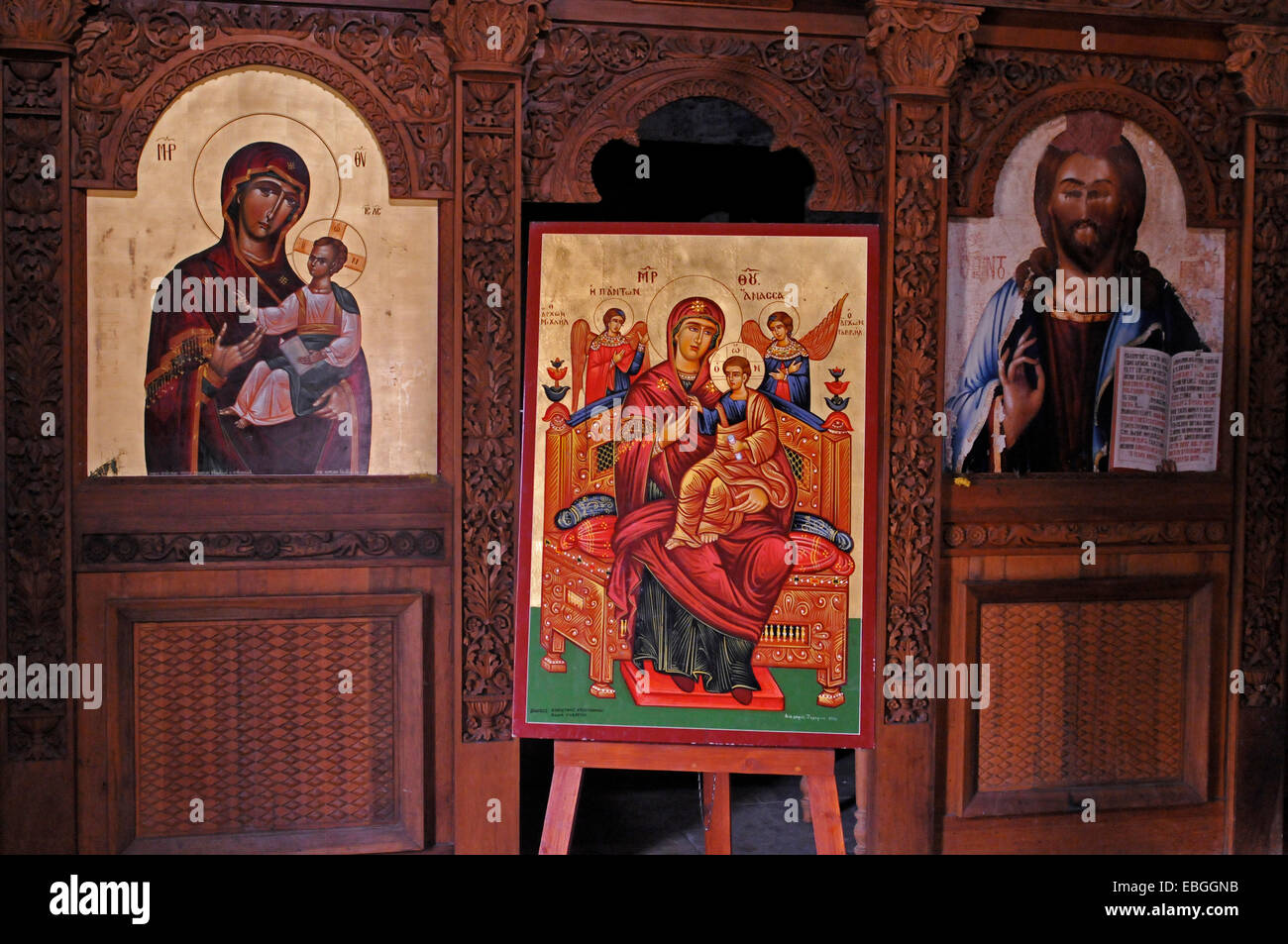 A beautiful Icons in the naive of the abandoned Monastery of Panagia tou Sinti in the Xeros Vally Cyprus Stock Photo