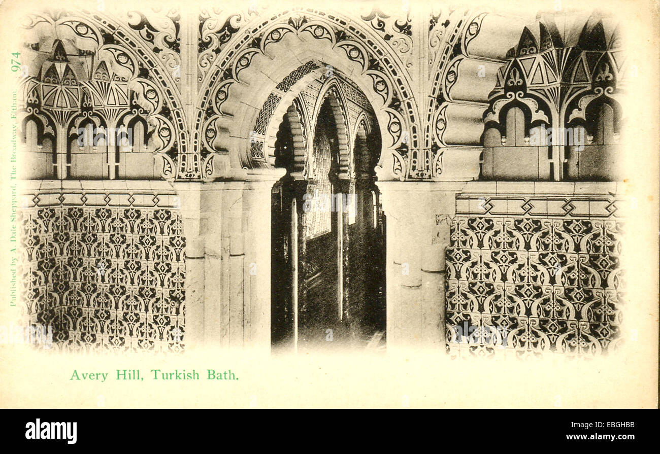Postcard of Turkish Bath at Avery Hill, Eltham Stock Photo