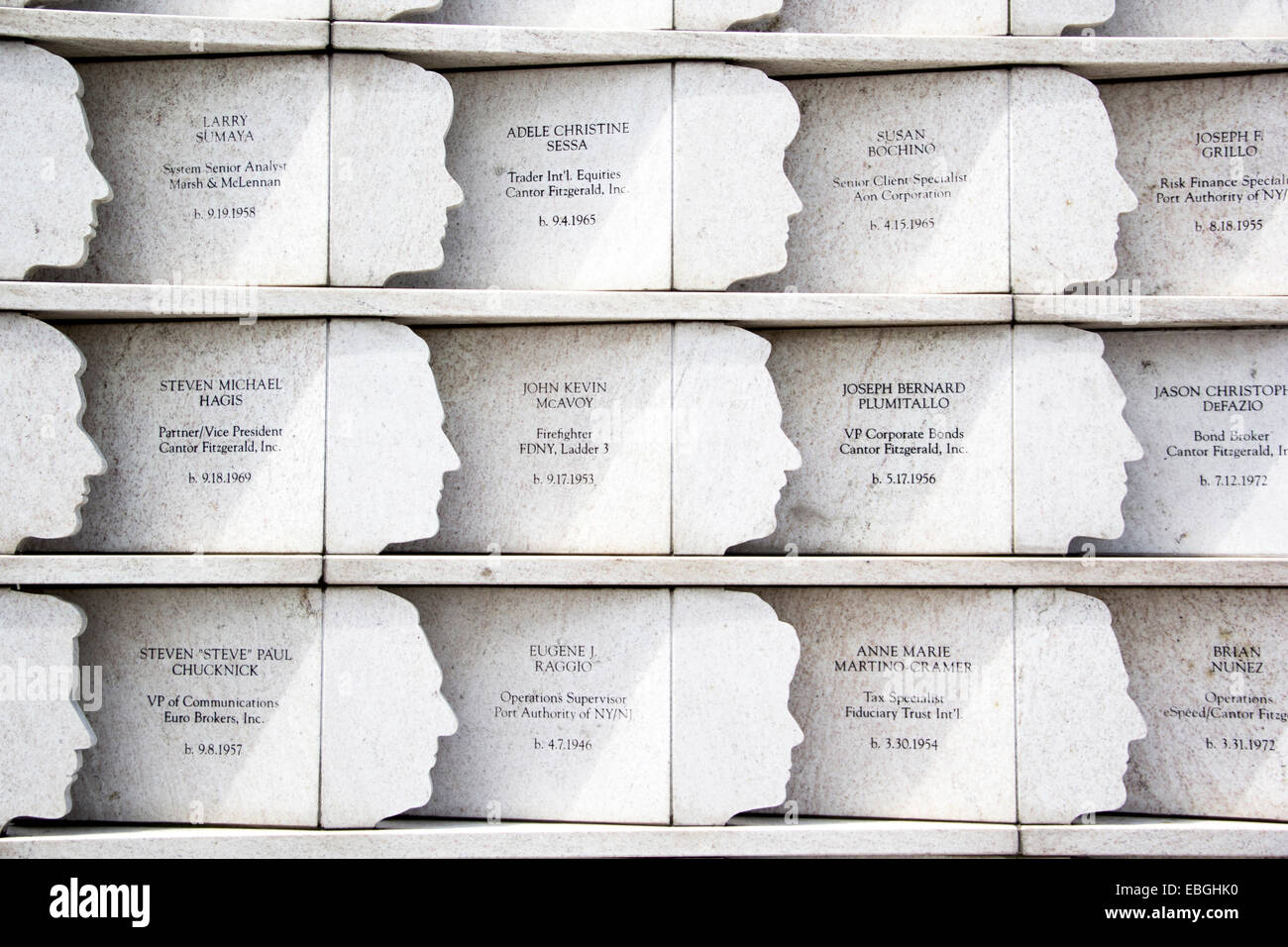 A close up of the 'Postcards' memorial in honor of those fallen on September 11, 2011. Staten Island, New - Stock Image