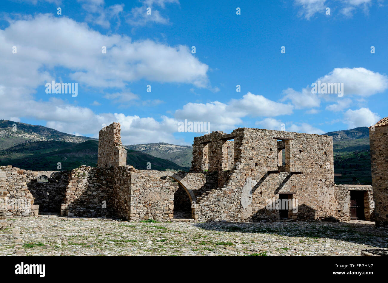 The outbuildings of the abandoned Monastery of Panagia tou Sinti in the Xeros Vally Cyprus Stock Photo