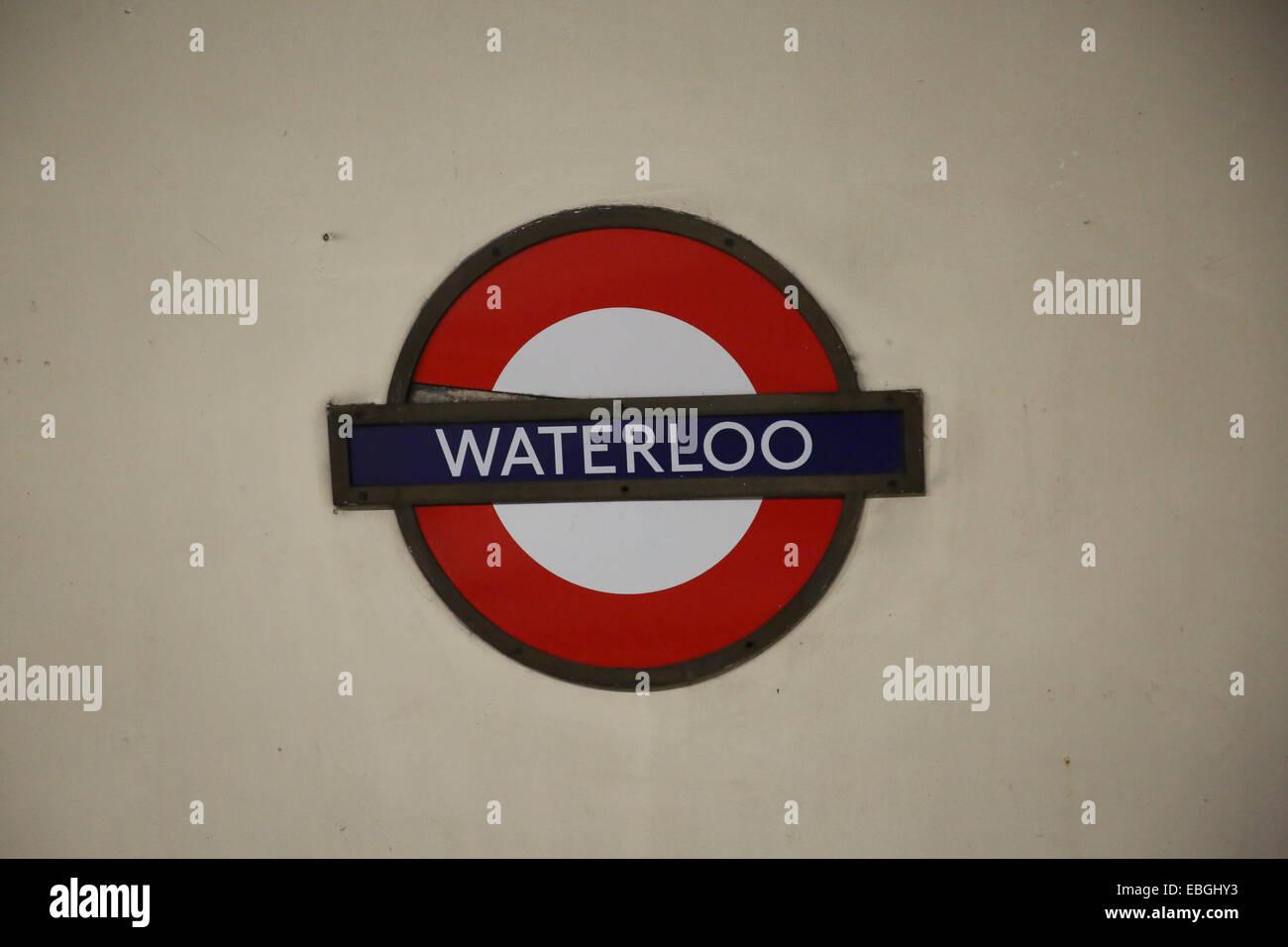 Tfl Underground Sign At Waterloo London Underground Station Stock