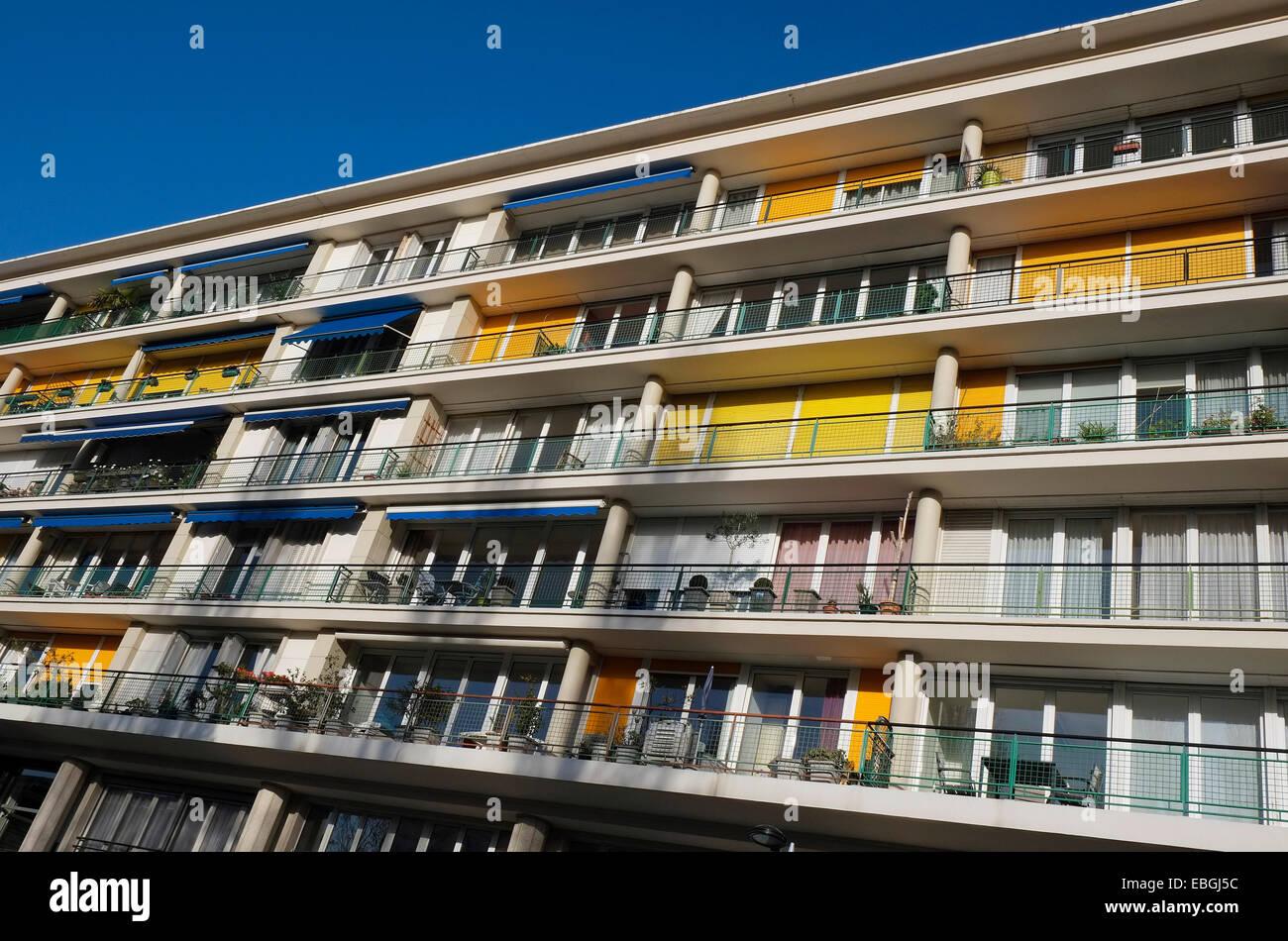 glass balconies apartment block stock photos glass. Black Bedroom Furniture Sets. Home Design Ideas