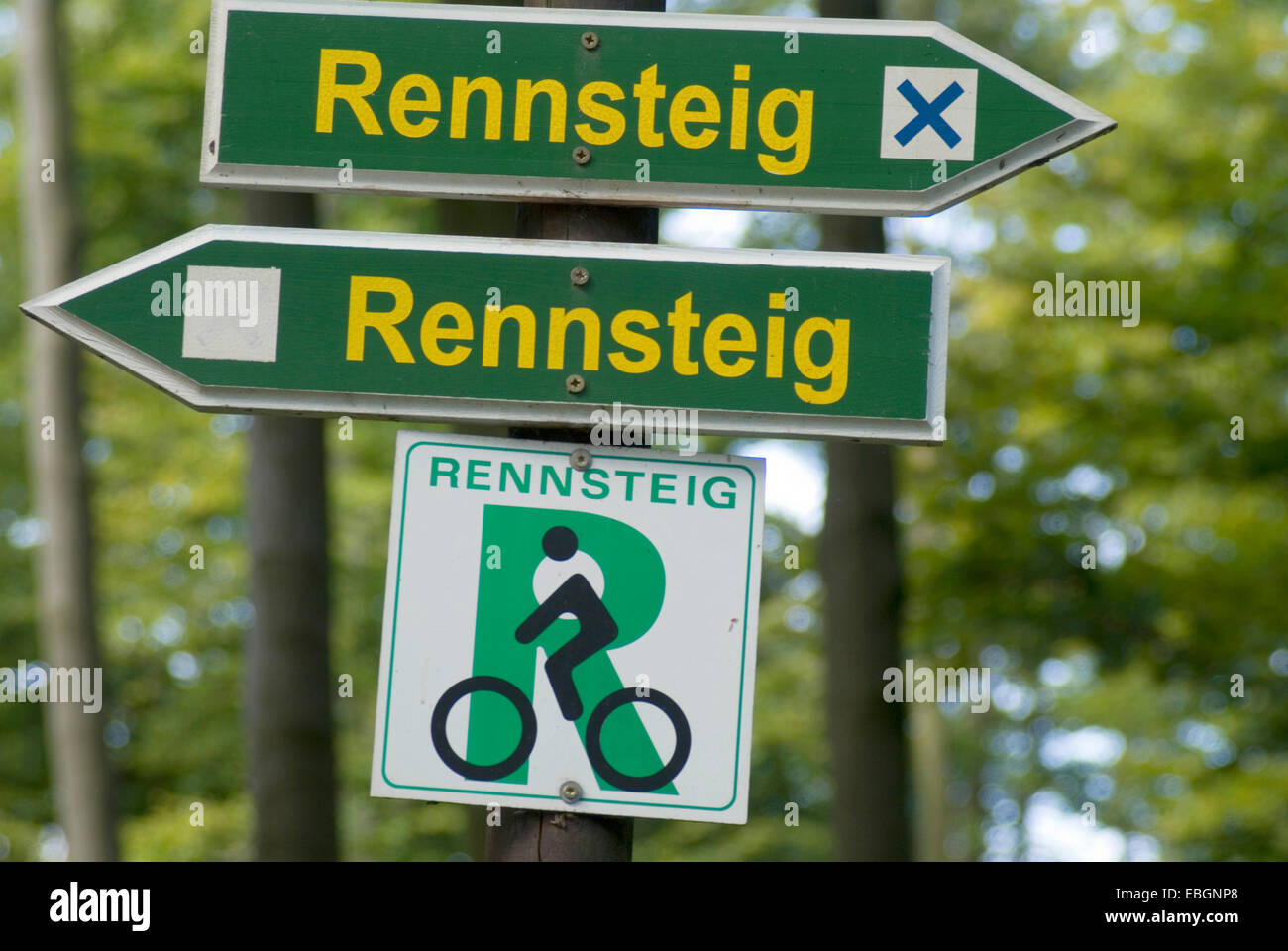 signboards to hiking trail, Germany, Thueringen, Rennsteig - Stock Image