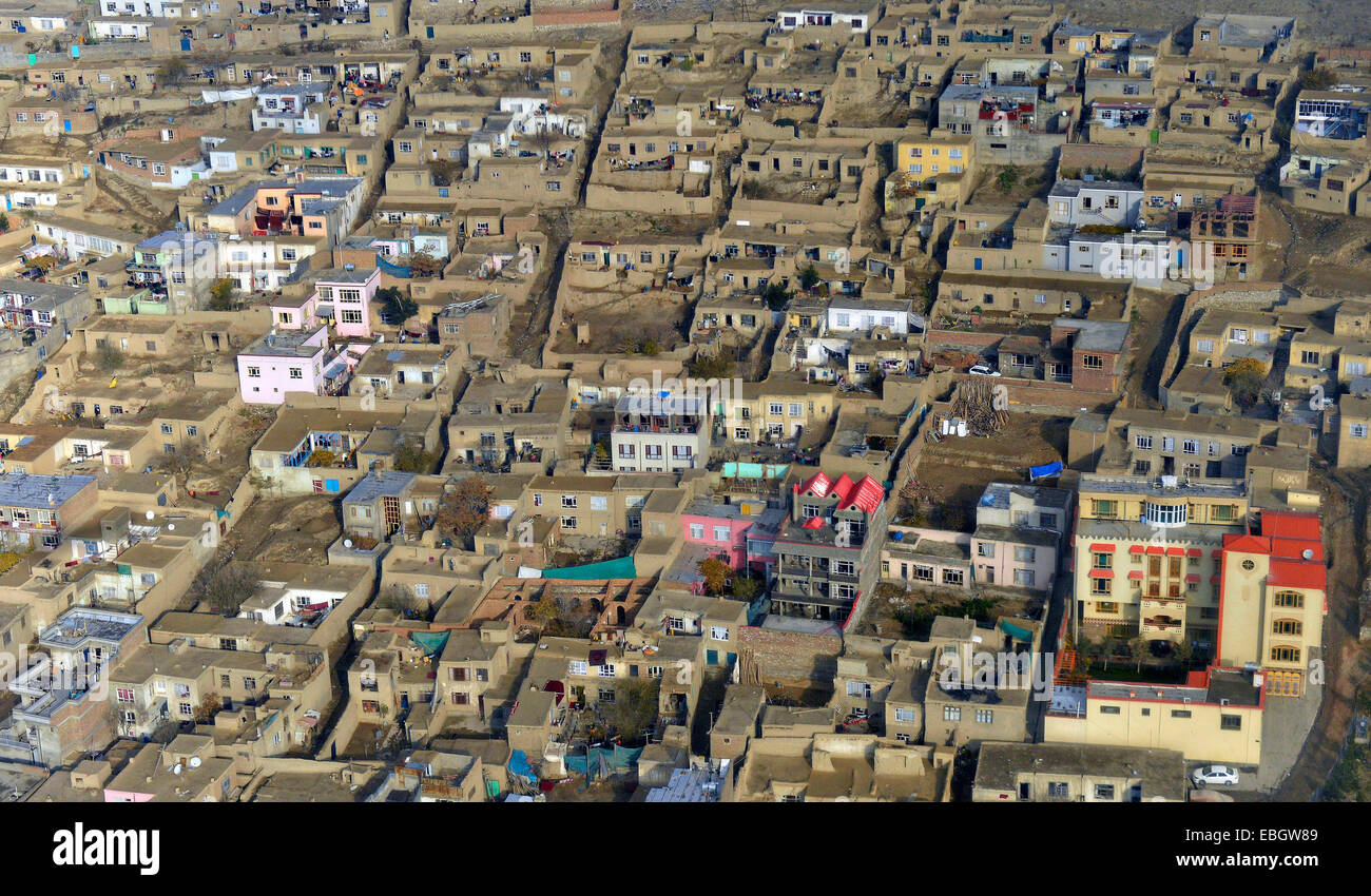 Aerial view of mud homes and compounds in a residential area November 27, 2014 in Kabul, Afghanistan. - Stock Image